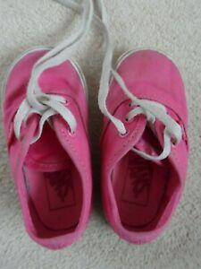 VANS pair of pink canvas lace up plimsolls size 5 (infant)