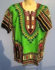 AFRICAN SHIRT DRESS MEN WOMEN HIPPIE STYLE CAFTAN UNISEX DASHIKI TRIBAL GREEN