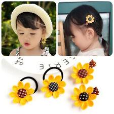 4Pcs/ Lovely Kid Sun Flower Hair Clips And Hair Rope Family Children\