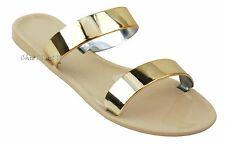 Women Roman Gladiator Gold Straps Color Beach Jelly Sandals Flat Flip Flops