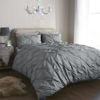 Balmoral Pleated Pintuck Duvet Cover/Quilt Cover Bedding Set Silver/White UK