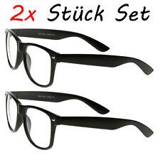 2 Stück Nerd Brillen Schwarz Clear Streber Hornbrille Atzenbrille ohne Stärke
