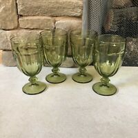 Set of 4 Libbey Duratuff Gibraltar Olive Green Water Iced Tea Goblets Glasses
