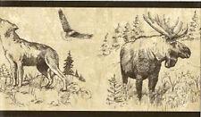 MOOSE, Wolf & BUFFALO  BLACK TRIM Wallpaper bordeR Wall