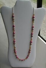 Pink Freshwater Pearl, Yellow Glass, and Round Stone Bead Handmade Necklace