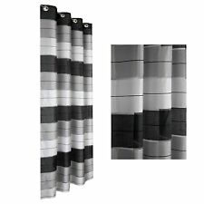 Eyelet Ready Made Voile Striped Curtain White Grey Black Ready Hang Panel Silver