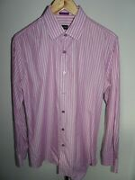 PAUL SMITH Mens Shirt Long Sleeve Cotton Pink Striped SIZE LARGE L 16""
