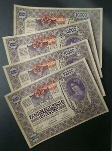 Four Sequential 1918 Austria 10,000 Kronen Notes