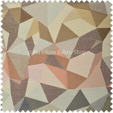 10 Metres Of Geometric Pattern White Brown Pink Chenille New Upholstery Fabric