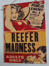 Reefer Madness Vintage Retro Movie Poster Sign On Wood - Marijuana Cigarette