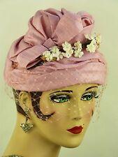 VINTAGE HAT 1950s ENGLISH, PASTEL PINK MAUVE SILKY BEEHIVE HAT w VEIL & FLOWERS