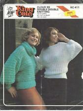 Vintage knitting pattern ladies sweater in double knitting with 2 necklines