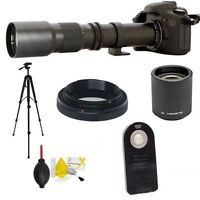 HD TELEPHOTO ZOOM LENS 500-1000MM +REMOTE FOR CANON EOS REBEL T3 T3I T5 T5I T2