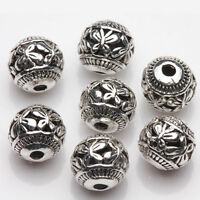 10Pcs Tibetan Silver Butterfly Hole Spacer Charm Beads Jewelry Making DIY 8mm