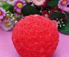 Red Rose Ball Candle Wedding New Home Party Gift Decor Flower Art Boxed UK