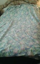 Vintage Dan River Queen Flat Sheet Gorgeous Floral with Ruffle Finish Excellent