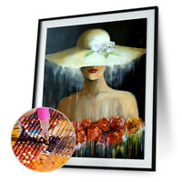 Diamond Embroidery Hat Beauty 5D DIY Painting Rhinestone Mosaic Home Wall Decor
