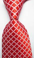 New Classic Checks Orange Red White JACQUARD WOVEN 100% Silk Men's Tie Necktie