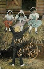 Solon Indiana~Hick w/Straw Hat Has 3 Farm Girls to Pick From~Hay Wagon~Gold Font