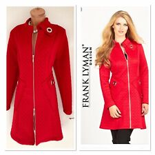 FRANK LYMAN Ruby Red Quilted Winter Coat With Silver Grommet Uk Size 14