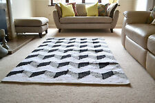 Large Cotton Rug Funky ZigZag Black White HandMade Woven Geometric 150x240cm 5x8