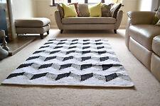 Grand Coton Tapis Funky ZigZag Noir Blanc fait à la main tissé Géométrique