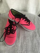 Classic Neon Pink Vans Size 3 Missy Era Lace Up Shoes Padded Tongue & Collar