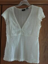 NEW YORK CITY DESIGN CO Ivory Sheer Lace Cap Sleeve Top Blouse M/Medium 8-10