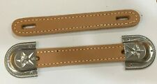 """Vintage Leather Trunk Handles Tan 8 3/4"""" chest steamer antique Star Metal Covers"""
