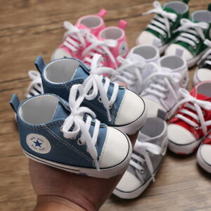 Classic Baby Boy Girl Pram Shoes Infant Sneakers Casual Shoes Size Newborn to 18