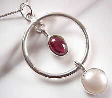 Garnet and Cultured Pearl Hoop Pendant 925 Sterling Silver Double Gem Stone New