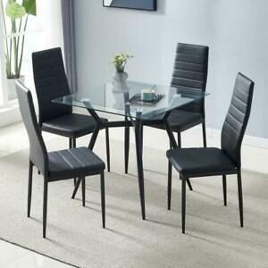4 Dining Chairs Black Faux Leather Padded Seat Kitchen Living Room Furniture