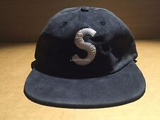 SUPREME 2016 F/W BOX LOGO S STRAPBACK SUEDE HAT 6 PANEL CAMP CAP NAVY BLUE