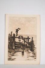 Gravure Eau-forte XIX° Jeux d'enfants au bord de la mer d'ap Ulysse Butin