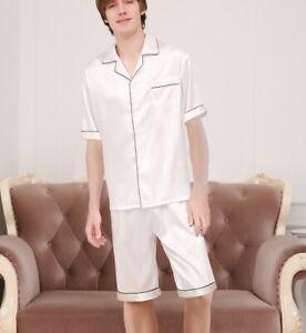 Men's 100% Mulberry Silk Pajama Set Short Sleeve Shirt & Pyjama Shorts AS261