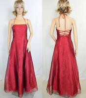 VTG ZUM ZUM Maroon Organza Beaded Shelf Bust Corset Open Back Formal Prom Dress