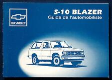 Owner's manual * MANUEL 1993 CHEVROLET s-10 Blazer (F)