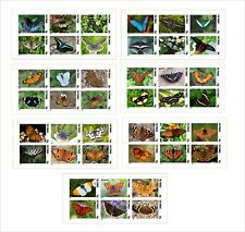 2010 BUTTERFLIES INSECTS 7 SOUVENIR SHEETS MNH IMPERFORATED