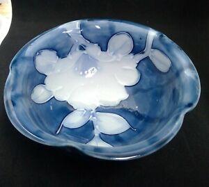 "Fitz & Floyd Japan Handpainted 5"" Blue White Floral Ruffled Edge Bowl"