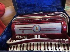 "Polka King Bernelli Red 2&4 reeds 120 bass Accordion 17"" keys Accordian G.Cond"