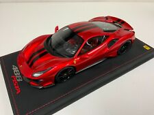 1/18 BBR Ferrari 488  Pista in candy apple red with Black Stripe Leather base