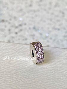 Authentic Pandora Pink Shining Elegance Stopper clip charm W/ Gift Box