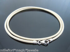 """2mm Cream Leather & 925 Sterling Silver Necklace Or Wristband 14"""" 16"""" 18"""" 20"""" 22"""