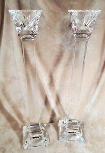 "Kristall Krisla Italy Lovely 18"" Tall Cut Crystal Candle Sticks"