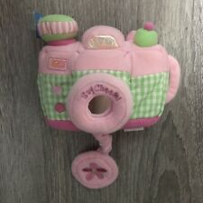 """BABY GUND Soft Stuffed SAY CHEESE CAMERA Sounds Plush Toy Pink/Green 6"""""""