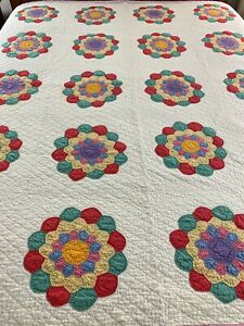 OMG Vintage Handmade Tons Hand Quilting Colorful Flower Quilt 67x76 Twin #758