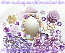 3D DIY Mobile cell Phone Case purple mirror flower gold cabochon Deco Den Kit