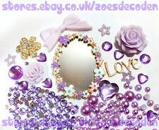 3D DIY Mobile cell Phone Case purple mirror flower gold cabochon Deco Den Kit