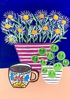 Original Painting Cup Of Coffee,House/money Plant, Daisies,Folk/naive Art