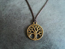 New Gold Tone Tree of Life Pendant Charm Necklace in Brown Cord